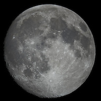 "Moon over New Jersey. Image taken with a Nikon D3x and Questar 7"" telescope (ISO 200, 2500 mm, f/16, 1/200 sec)"