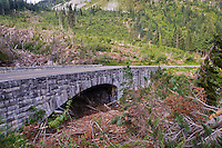 Snow Avalanche Damage at the road crossing on Stevens Creek, Mount Rainier National Park, Washington, USA