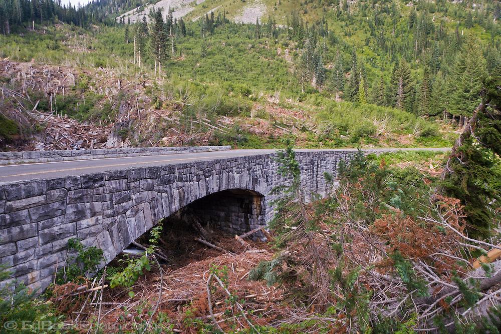 Snow Avalanche Damage at the road crossing on Stevens Creek, Mount Rainier National Park, Washington, USA