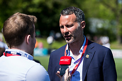 NEWTOWN, WALES - Sunday, May 6, 2018:  Wales' manager Ryan Giggs is interview by BBC Radio Cymru before the FAW Welsh Cup Final between Aberystwyth Town and Connahs Quay Nomads at Latham Park. (Pic by Paul Greenwood/Propaganda)