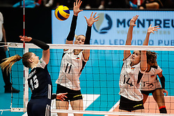 16.05.2019, Montreux, SUI, Montreux Volley Masters 2019, Deutschland vs Polen, im Bild Louisa Lippmann (Germany #11) and Marie Schoelzel (Germany #14) trying to block Martyna Grajber (Poland #15) // during the Montreux Volley Masters match between Germany and Poland in Montreux, Switzerland on 2019/05/16. EXPA Pictures © 2019, PhotoCredit: EXPA/ Eibner-Pressefoto/ beautiful sports/Schiller<br /> <br /> *****ATTENTION - OUT of GER*****