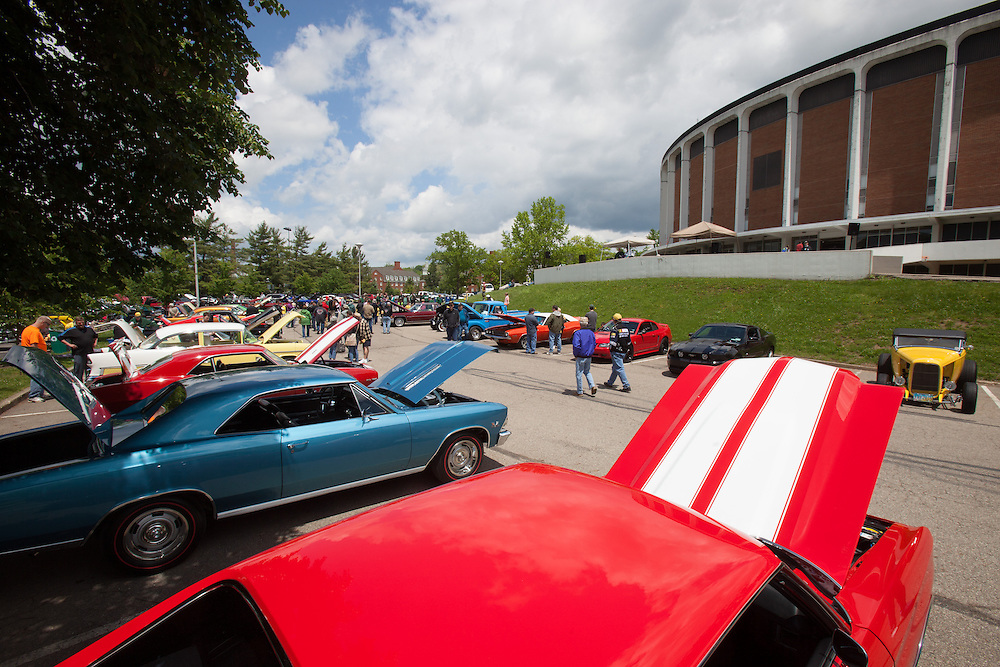 Cars line the parking lot during the fourth annual Cruise In At The Convo, May 17, 2014 at Ohio University's Convocation Center. The annual event is Hosted by The Ohio Alumni Varsity Band.  Photo by Ohio University / Jonathan Adams