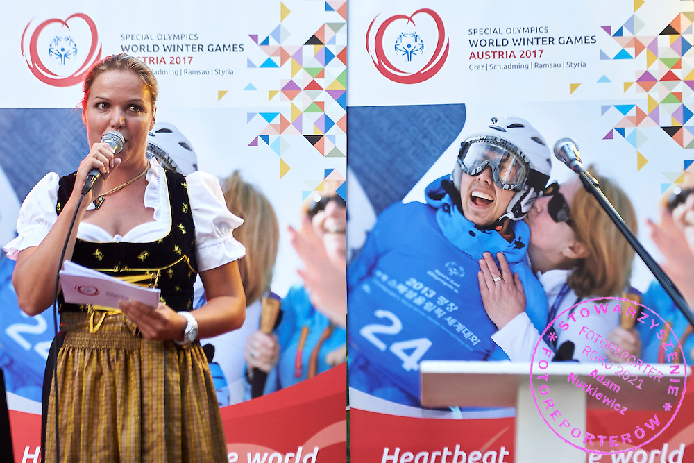 Welcome speech while Austria 2017 Reception during third day of the Special Olympics World Games Los Angeles 2015 on July 27, 2015 in Los Angeles, USA.<br /> USA, Los Angeles, July 27, 2015<br /> <br /> Picture also available in RAW (NEF) or TIFF format on special request.<br /> <br /> For editorial use only. Any commercial or promotional use requires permission.<br /> <br /> Adam Nurkiewicz declares that he has no rights to the image of people at the photographs of his authorship.<br /> <br /> Mandatory credit:<br /> Photo by &copy; Adam Nurkiewicz / Mediasport
