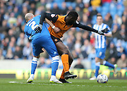 Kortney Hause and Bruno Saltor, Brighton defender during the Sky Bet Championship match between Brighton and Hove Albion and Wolverhampton Wanderers at the American Express Community Stadium, Brighton and Hove, England on 14 March 2015.