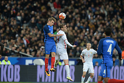 29.03.2016, Stade de France, St. Denis, FRA, Testspiel, Frankreich vs Russland, im Bild digne lucas, kokorin aleksandr // during the International Friendly Football Match between France and Russia at the Stade de France in St. Denis, France on 2016/03/29. EXPA Pictures © 2016, PhotoCredit: EXPA/ Pressesports/ Jerome Prevost<br /> <br /> *****ATTENTION - for AUT, SLO, CRO, SRB, BIH, MAZ, POL only*****