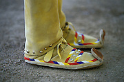 Traditional Apache female moccasins, worn by a young Apache woman at a Sunrise Dance held at the San Carlos Apache Reservation in Arizona, USA.