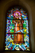 Israel, Nazareth, stained glass window Church of St Joseph in the Basilica of the Annunciation compound.