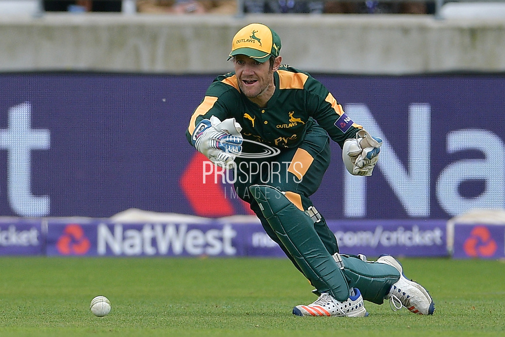 Chris Read throws to run out Alex Wakely (not shown) during the NatWest T20 Finals Day 2016 match between Nottinghamshire County Cricket Club and Northamptonshire County Cricket Club at Edgbaston, Birmingham, United Kingdom on 20 August 2016. Photo by Simon Trafford.