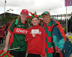 Mayo supporters from Annmarie and Ronan McCormack from Knockmore with Mary Dooley Ballyhaunis.<br />Pic Conor McKeown