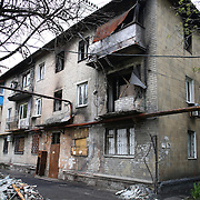 A house damaged in Horlivka by the heavy shelling during the confrontations between Pro-Russian separatists and Ukrainian army