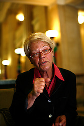 UK ENGLAND LONDON 21AUG12 - Susanne Schmidt, author and daughter of former German chancellor Helmut Schmidt reacts during an interview in the city of London.....Susanne Schmidt holds a PhD in national economy and has worked for over 30 years in the City of London, first as key accountant manager in credit business, then in research of an investment bank, later as anchor-woman for financial service provider Bloomberg Television.....jre/Photo by Jiri Rezac....© Jiri Rezac 2012