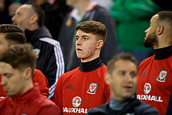 DUBLIN, REPUBLIC OF IRELAND - Friday, March 24, 2017: Wales' substitute Ben Woodburn on the bench before the 2018 FIFA World Cup Qualifying Group D match against Republic of Ireland at the Aviva Stadium. (Pic by David Rawcliffe/Propaganda)