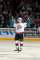 KELOWNA, CANADA - MARCH 22: Tyson Baillie #24 of the Kelowna Rockets celebrates a goal against the Tri-City Americans on March 22, 2014 during game 1 of the first round of WHL Playoffs at Prospera Place in Kelowna, British Columbia, Canada.   (Photo by Marissa Baecker/Getty Images)  *** Local Caption *** Tyson Baillie;