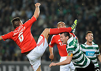 20120409: LISBON, PORTUGAL -Portuguese Liga Zon Sagres 2011/2012 - Sporting CP vs SL Benfica.<br /> In picture: Benfica's Javi Garcia, from Spain, left, and Sporting's Anderson Polga, from Brazil.<br /> PHOTO: Alvaro Isidoro/CITYFILES