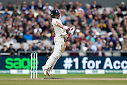Rory Burns of England is surprised by a bouncer from Pat Cummins of Australia during the International Test Match 2019, fourth test, day three match between England and Australia at Old Trafford, Manchester, England on 6 September 2019.