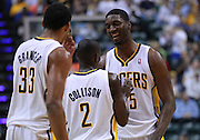 March 13, 2012; Indianapolis, IN, USA; Indiana Pacers center Roy Hibbert (55) has a laugh with Indiana Pacers point guard Darren Collison (2) and Indiana Pacers small forward Danny Granger (33) at Bankers Life Fieldhouse. Indiana defeated Portland 92-75. Mandatory credit: Michael Hickey-US PRESSWIRE