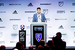 January 11, 2019 - Chicago, IL, U.S. - CHICAGO, IL - JANUARY 11: Sam Brown is selected as the number seventeen overall pick to Real Salt Lake in the first round of the MLS SuperDraft on January 11, 2019, at McCormick Place in Chicago, IL. (Photo by Patrick Gorski/Icon Sportswire) (Credit Image: © Patrick Gorski/Icon SMI via ZUMA Press)