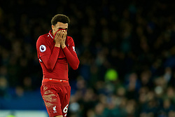 LIVERPOOL, ENGLAND - Sunday, March 3, 2019: Liverpool's Trent Alexander-Arnold looks dejected after the goal-less draw during the FA Premier League match between Everton FC and Liverpool FC, the 233rd Merseyside Derby, at Goodison Park. (Pic by Paul Greenwood/Propaganda)