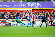 Ollie Watkins (14) of Exeter City scores a goal to give a 1-0 lead to the home team during the EFL Sky Bet League 2 play off second leg match between Exeter City and Carlisle United at St James' Park, Exeter, England on 18 May 2017. Photo by Graham Hunt.