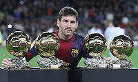 16.01.2013 Barcelona, Spain. Picture show Leo Messi with 4  ballon d'or at Camp Nou