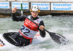 28.02.2013, Eiskanal, Augsburg, GER, ICF Kanuslalom Weltcup, 2. Rennen, im Bild Birgit OHMAYER (GER), C1, Canadier Einer, // during 2nd race of ICF Canoe Slalom World Cup at the ice track, Augsburg, Germany on 2013/06/28. EXPA Pictures © 2013, PhotoCredit: EXPA/ Eibner/ Klaus Rainer Krieger<br /> <br /> ***** ATTENTION - OUT OF GER *****
