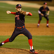 16 February 2018: San Diego State baseball opened up the season against UCSB at Tony Gwynn Stadium. San Diego State pitcher Casey O'Sullivan (13) closes out the ninth inning against UCSB. The Aztecs beat the Gauchos 9-1. <br /> More game action at sdsuaztecphotos.com