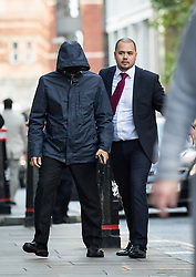 © Licensed to London News Pictures. 04/10/2016. London, UK. Mazher Mahmood, also known as The Fake Sheikh arrives at The Old Bailey, where he appears with Alan Smith, charged with perverting the course of justice. Photo credit : Tom Nicholson/LNP