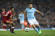 66 Trent Alexander-Arnold for Liverpool FC and 10 Kun Agüero for Manchester City during the Champions League match between Manchester City and Liverpool at the Etihad Stadium, Manchester, England on 10 April 2018. Picture by Graham Holt.