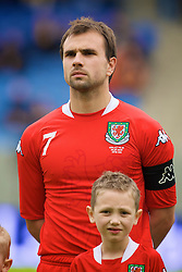 REYKJAVIK, ICELAND - Wednesday, May 28, 2008: Wales' new captain Carl Fletcher lines-up before the international friendly match against Iceland at the Laugardalsvollur Stadium. (Photo by David Rawcliffe/Propaganda)