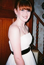 Emma at 16 about to attend her prom. Emma McCauley, 26, of Barking, East London had to undergo a double mastectomy just weeks after losing her mother to breast cancer, discovering she herself had breast cancer and keeping it a secret whilst caring for her mother in her final weeks. London, July 31 2019.