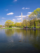 A view of the Reflecting Pool on the National Mall with the Washington Monument in the background.