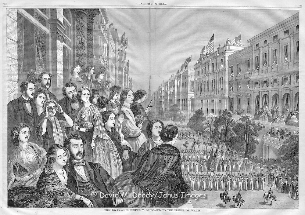 vintage illustration:  Harper's Weekly 1860 Welcome to the Prince of Wales on Broadway, NY
