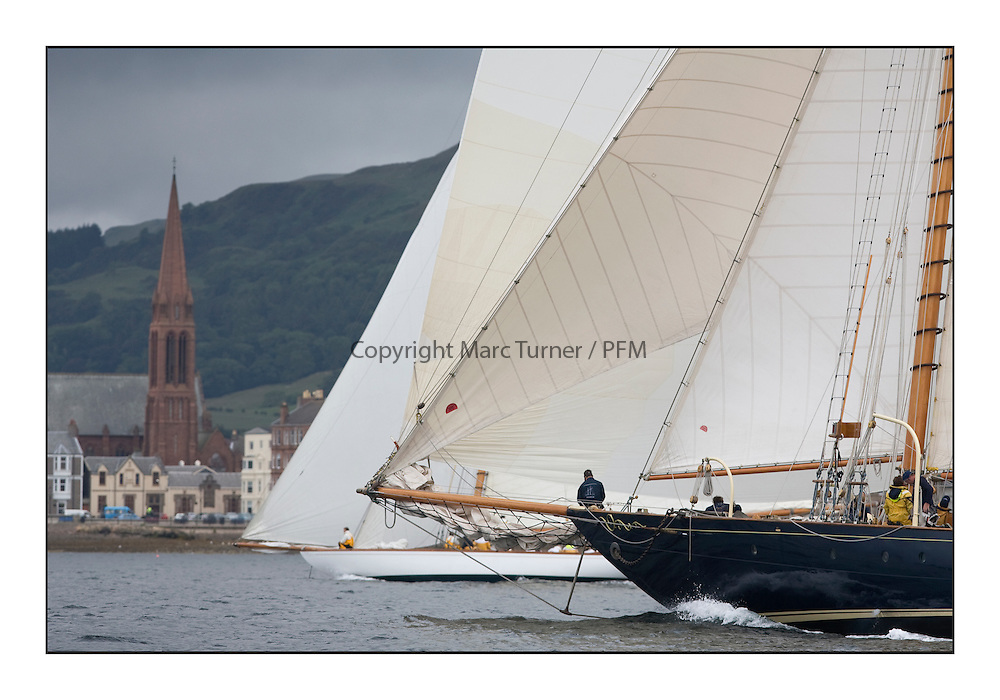Mariette 1915 Gaff Schooner and The Lady Anne 1912 a 15 metre pass the Largs shore...The final day's racing on the King's Course North of Cumbrae...* The Fife Yachts are one of the world's most prestigious group of Classic .yachts and this will be the third private regatta following the success of the 98, .and 03 events.  .A pilgrimage to their birthplace of these historic yachts, the 'Stradivarius' of .sail, from Scotland's pre-eminent yacht designer and builder, William Fife III, .on the Clyde 20th -27th June.   . ..More information is available on the website: www.fiferegatta.com . .Press office contact: 01475 689100         Lynda Melvin or Paul Jeffes