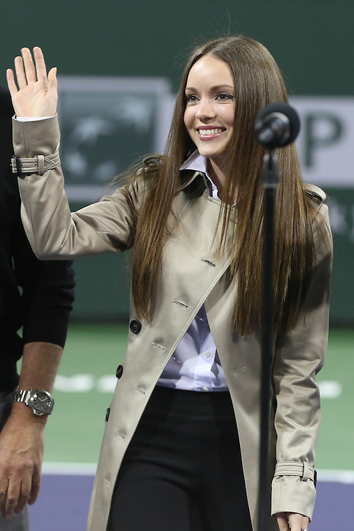 March 1, 2014, Indian Wells, California: <br /> Nikita Kahn, girlfriend of BNP Paribas Open Tournament Owner Larry Ellison, is introduced during the McEnroe Challenge for Charity presented by Esurance at Indian Wells Tennis Garden. <br /> (Photo by Billie Weiss/BNP Paribas Open)