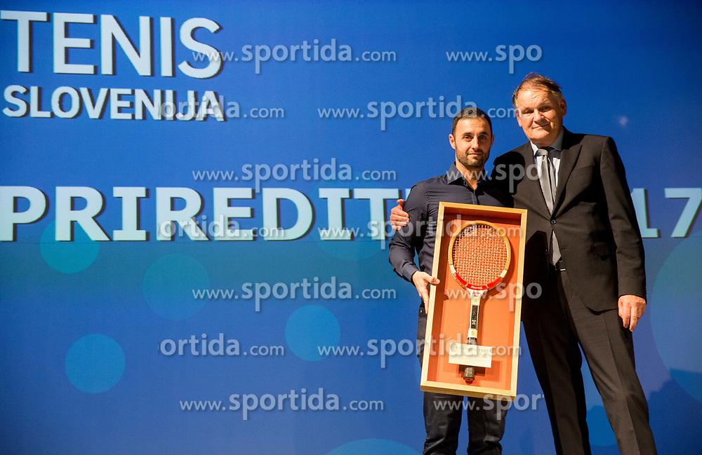 Aljaz Kos and Marko Umberger  during Slovenian Tennis personality of the year 2017 annual awards presented by Slovene Tennis Association Tenis Slovenija, on November 29, 2017 in Siti Teater, Ljubljana, Slovenia. Photo by Vid Ponikvar / Sportida