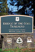 Bridge of the Gods Trailhead sign (Pacific Oregon Crest Trail), Cascade Locks, Columbia River Gorge National Scenic Area, Oregon