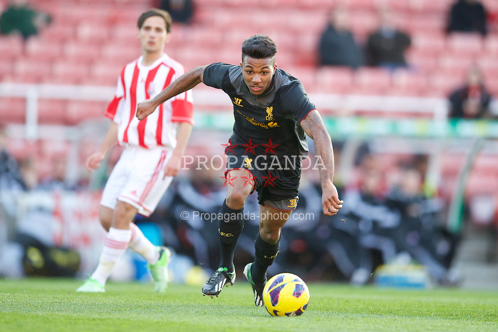 STOKE-ON-TRENT, ENGLAND - Wednesday, May 1, 2013: Liverpool's Jerome Sinclair in action against Stoke City during the Premier League Academy match at the Britannia Stadium. (Pic by David Rawcliffe/Propaganda)