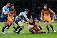 SYDNEY, AUSTRALIA - MAY 25: Jaguares player Ramiro Moyano (11) tackled by Waratahs player Alex Newsome (14) at week 15 of Super Rugby between NSW Waratahs and Jaguares on May 25, 2019 at Western Sydney Stadium in NSW, Australia. (Photo by Speed Media/Icon Sportswire)