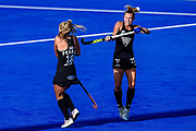 Kirsten Pearce of the Black Sticks and Kelsey Smith of the Black Sticks try to control the ball during the FIH Pro League for Hockey played between China v Black Sticks Women, Nga Puna Wai Hockey Stadium in Christchurch. 17th February 2019. Copyright photo: John Davidson / www.photosport.nz