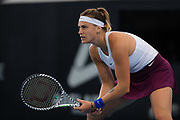 Aryna Sabalenka of Belarus in action during the quarter-finals at the 2020 Adelaide International WTA Premier tennis tournament agasinst Simona Halep of Romania. Photo Rob Prange / Spain ProSportsImages / DPPI / ProSportsImages / DPPI