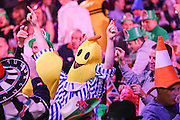 Darts fans during the Quarter Final of the Singha Beer Grand Slam of Darts at Wolverhampton Civic Hall, Wolverhampton, United Kingdom on 19 November 2016. Photo by Shane Healey.