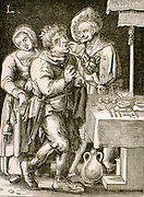 Dentistry in 17th century France.  While the 'dentist' is pulling the man's tooth his assistant is picking the patient's purse.