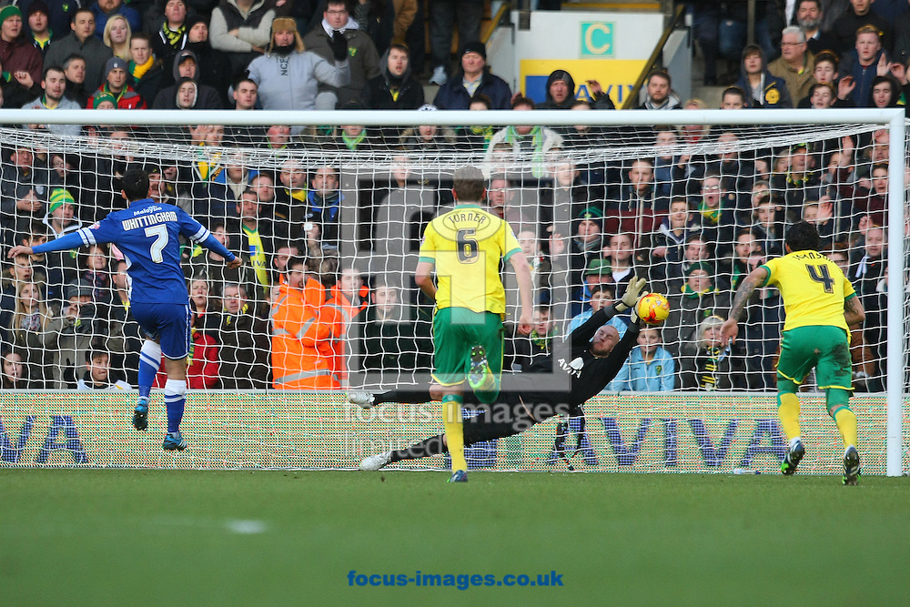 John Ruddy of Norwich saves Peter Whittingham of Cardiff's penalty kick during the Sky Bet Championship match at Carrow Road, Norwich<br /> Picture by Paul Chesterton/Focus Images Ltd +44 7904 640267<br /> 17/01/2015