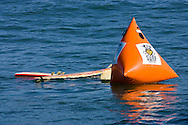 Surfboards including one that has been snapped in half  sits idle tied to an event buoy at the 2008 Mavericks Surf Contest on January 12 2008 in Half Moon Bay