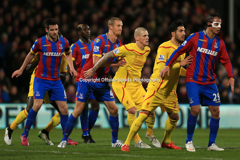 14 February 2015 - The FA Cup Fifth Round - Crystal Palace v Liverpool - Martin Skrtel and Emre Can of Liverpool tangles with Marouane Chamakh and Brede Hangeland of Crystal Palace - Photo: Marc Atkins / Offside.