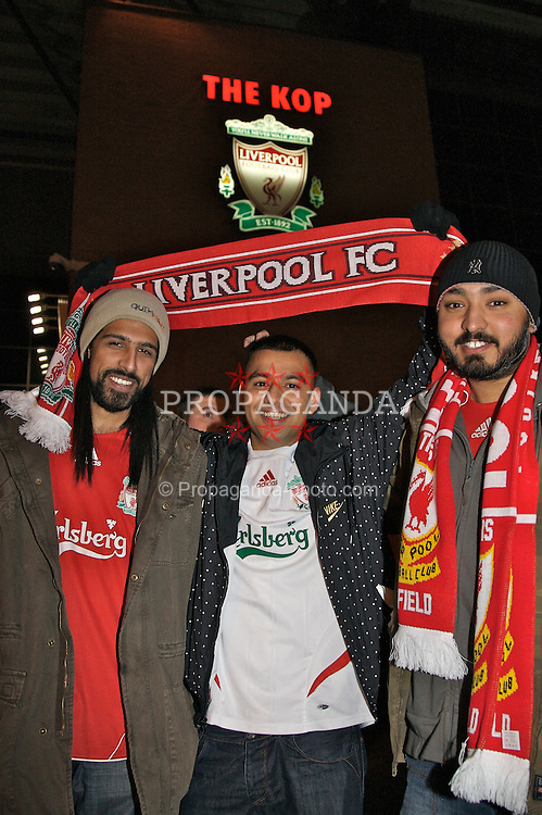 LIVERPOOL, ENGLAND - Tuesday, January 15, 2008: Liverpool supporters (L-R) Iky Ibrahim, Afzal Dawood and Tommy Singh outside the famous Spion Kop before the FA Cup 3rd Round Replay against Luton Town at Anfield. (Photo by David Rawcliffe/Propaganda)