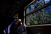 A view from inside the backpacker Perurail train to Agaus Calientes
