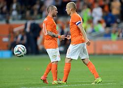 04-06-2014 NED: Vriendschappelijk Nederland - Wales, Amsterdam<br /> Nederland wint met 2-0 van Wales / Wesley Sneijder, Arjen Robben