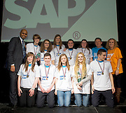 16/02/2014 Shinjuku , St. Paul's Oughterard Galway(pictured with Paul Sleem MC and Yvonne McArdle SAP) at the 8th annual SAP FIRST LEGO League challenge in Galway!&nbsp; The global theme for this year&rsquo;s competition; &ldquo;Nature&rsquo;s Fury&rdquo; was very apt for Irish Students and many of the projects were inspired by recent disastrous impact of the weather in local communities.<br /> &nbsp;<br /> The winners, SGC Robotics from St. Gerald&rsquo;s Secondary School in Castlebar, will now go on to represent Ireland at the European finals of the competition in Spain in May. They will follow in the footsteps of other very successful Irish teams who have in the past been recognised and awarded prizes on the international stage.<br /> Bernard Kirk, Director, The Galway Education Centre who brought the FIRST LEGO League to Ireland 8 years ago and have hosted it every year since, &ldquo; We see these students not just as LEGO and robotics experts, they are architects, engineers and genuine enthusiasts. Irish students have become recognised all over the world through their successes in this competition at global level and we are extremely proud of them and their teachers&rdquo;. Photo:Andrew Downes