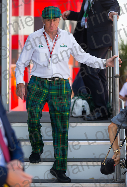 The 2018 Formula 1 F1 Rolex British grand prix, Silverstone, England. Friday 6th July 2018.<br /> <br /> Pictured: Sir Jackie Stewart OBE in the paddock at the British F1 Grand Prix, Silverstone.<br /> <br /> Jamie Lorriman<br /> mail@jamielorriman.co.uk<br /> www.jamielorriman.co.uk<br /> 07718 900288